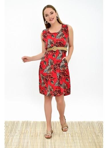 Cottonmood 9315020 Dok.Viskon Desenli Cepli Kolsuz Elbise Bej Kırmızı